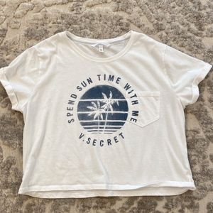 VS white cropped t-shirt, S/P, capped cuffed slvs